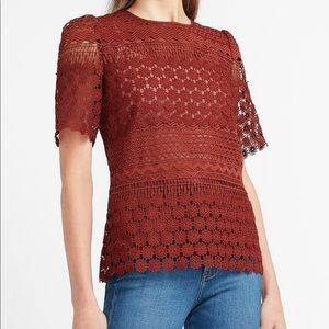Lace Puff Sleeve Crew Neck Top